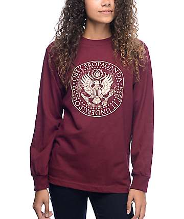 Obey Oil Eagle Burgundy Long Sleeve T-Shirt