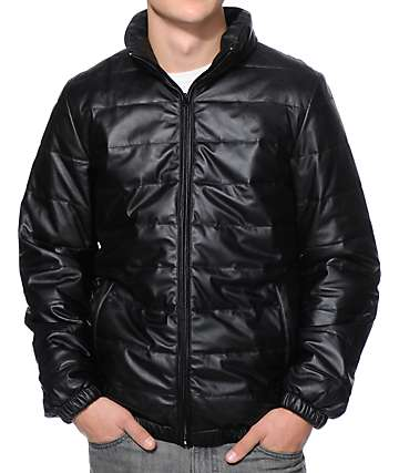Obey Orchard Black Faux Leather Jacket