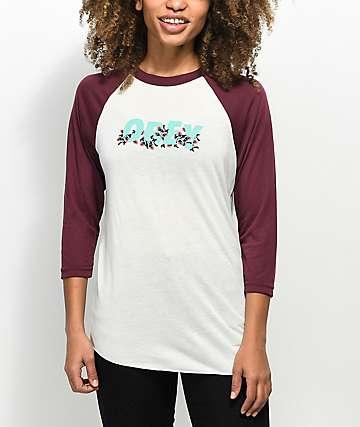Obey Overgrown Cream & Burgundy Baseball T-Shirt