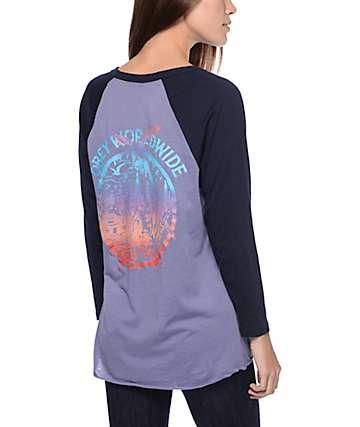 Obey Paint Spill Violet & Navy Raglan T-Shirt