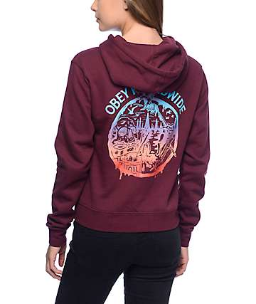 Obey Paint Spills Burgundy Hoodie