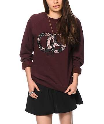 Obey Parker Burgundy Crew Neck Sweatshirt
