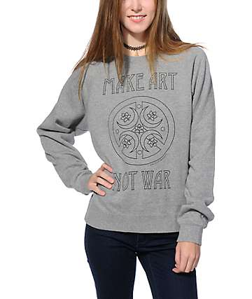 Obey Peace Make Art Grey Crew Neck Sweatshirt