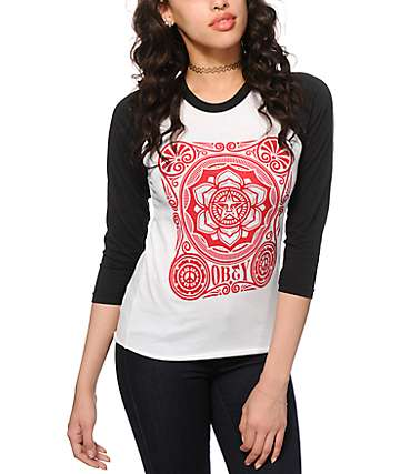 Obey Peace Poster White & Black Baseball Tee