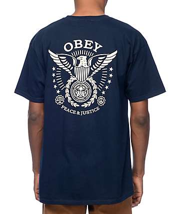 Obey Peace and Justice Eagle Navy T-Shirt