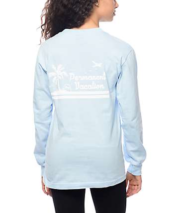Obey Permanent Vacation Blue Long Sleeve T-Shirt