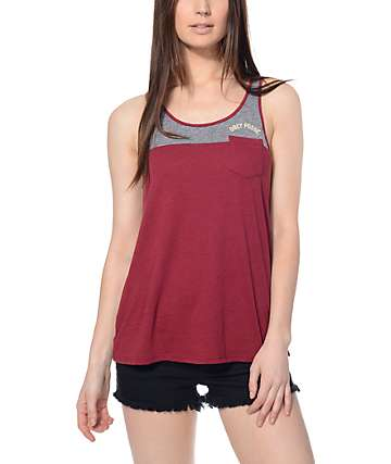 Obey Posse Arc Heather Ash and Burgundy Tank Top