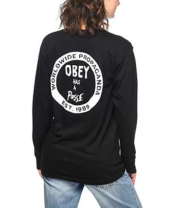 Obey Posse Black Long Sleeve T-Shirt
