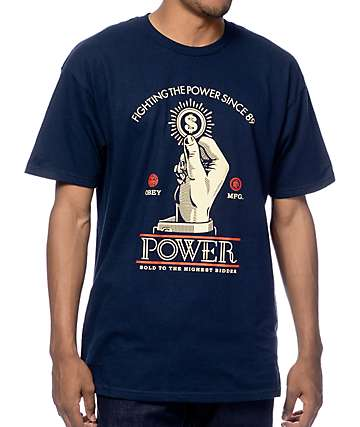 Obey Power Bidder Navy T-Shirt