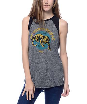 Obey Power Heather Black Muscle Tank Top