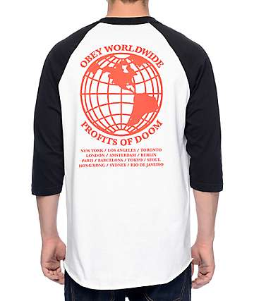 Obey Profits Of Doom White & Black Baseball T-Shirt