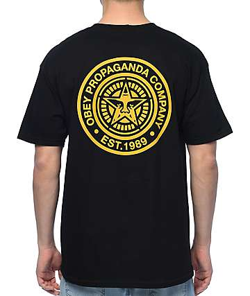 Obey Propaganda Black & Gold T-Shirt
