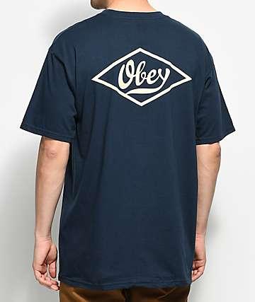 Obey Proto Script 2 Navy T-Shirt