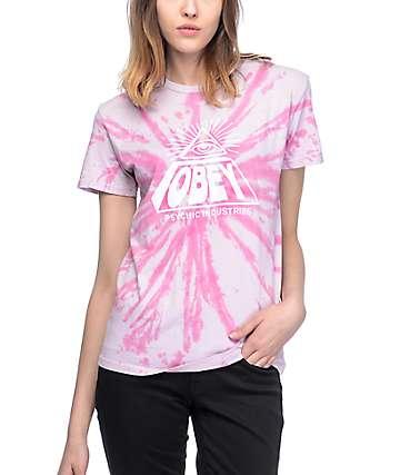 Obey Psychic Industries camiseta rosa con efecto tie dye