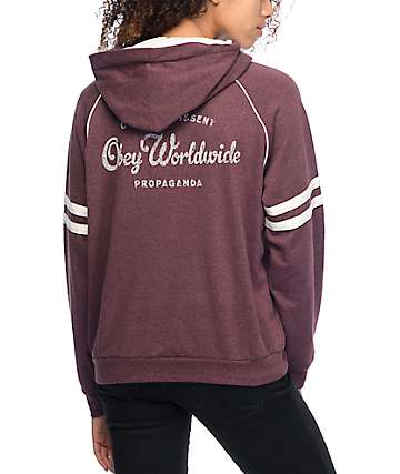 Obey Quality Dissent Prop Burgundy Pullover Hoodie