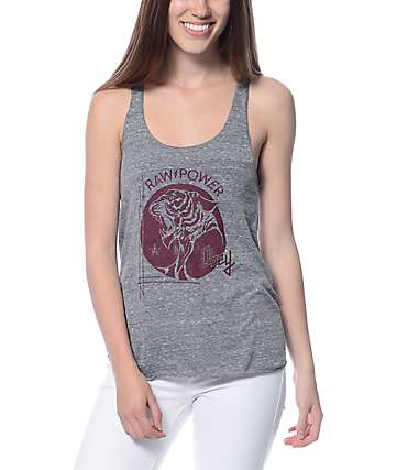 Obey Raw Power Tiger Grey Track Tank Top