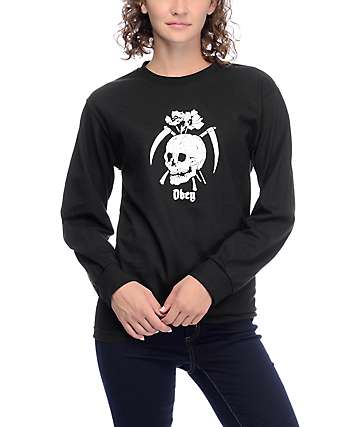 Obey Reap Skull Black Long Sleeve T-Shirt