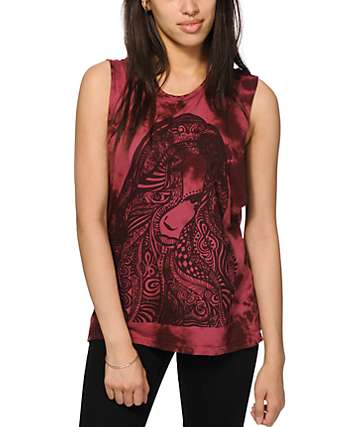 Obey Remember Yourself Burgundy Tie Dye Muscle Tank Top