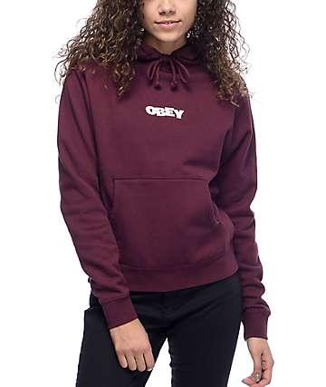 Obey Ripped sudadera con capucha color vino