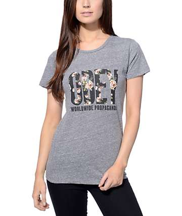 Obey Rose Bud OG Navy & Heather Grey T-Shirt
