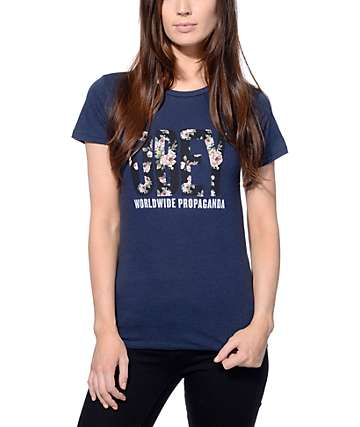 Obey Rose Bud OG Navy & Mood Indigo T-Shirt
