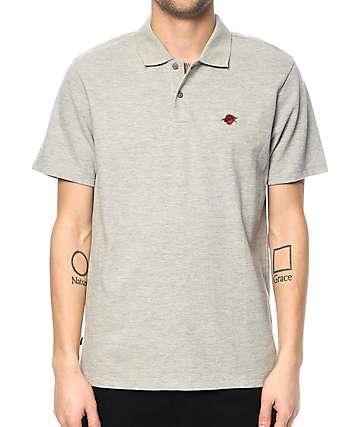 Obey Rose Heather Grey Polo T-Shirt