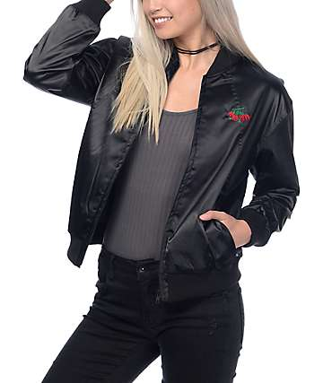 Obey Sadie Black Satin Jacket