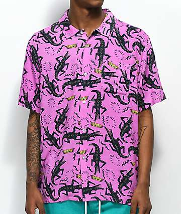 Obey Salazar Purple Short Sleeve Button Up Shirt
