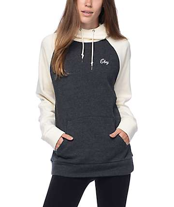 Obey Sammie Script Heather Black Hoodie
