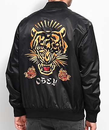 Obey Savage Black Satin Bomber Jacket