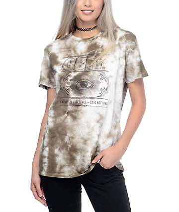 Obey Say Nothing Olive Tie Dye T-Shirt
