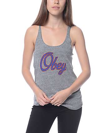 Obey Script Heather Grey Track Tank Top