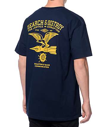 Obey Search And Destroy Navy T-Shirt