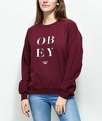 Obey See Clearly sudadera con cuello redondo en color borgoño