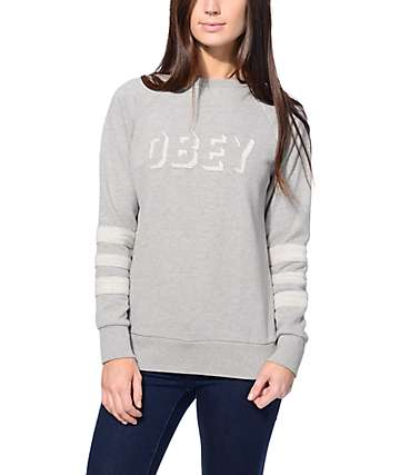 Obey Shadow Stripe Heather Grey Crew Neck Sweatshirt