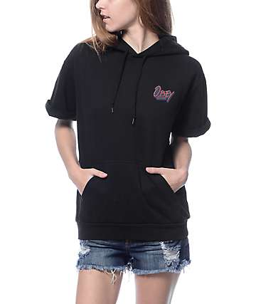Obey Shaka Waves Black Short Sleeve Hoodie