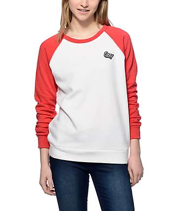 Obey Shaka Waves Red Crew Neck Sweatshirt