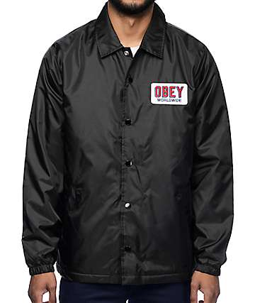 Obey Sheffield Black Quilted Coach Jacket