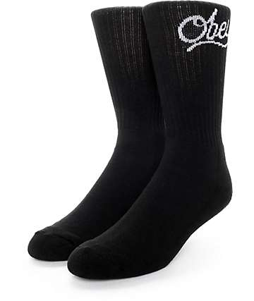 Obey Since 89 Script Black Crew Socks