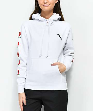 Obey Slauson Rose White Hoodie