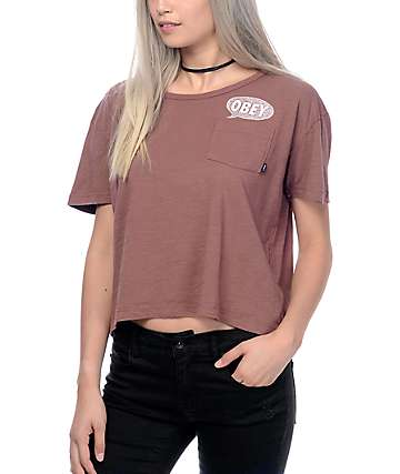 Obey Small Talk Maroon Pocket T-Shirt