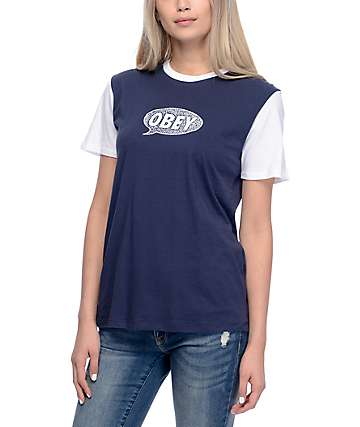 Obey Small Talk Navy & White T-Shirt