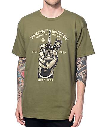 Obey Smoke Em Green T-Shirt