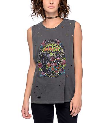 Obey Space & Time Black Moto Muscle Tank Top