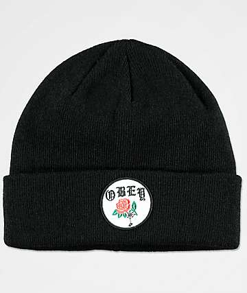 Obey Spider Rose Black Beanie
