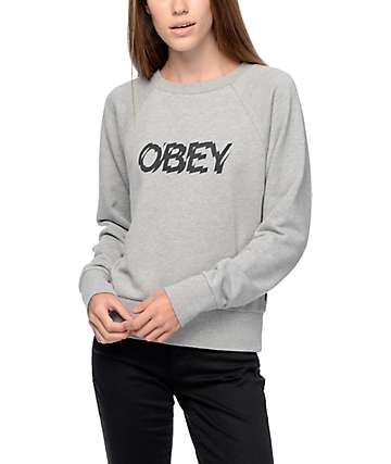 Obey Static Age Liberte Grey Crew Neck Sweatshirt
