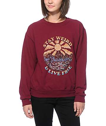 Obey Stay Weird Burgundy Crew Neck Sweatshirt