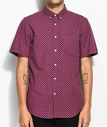 Obey Sterling Burgundy Woven Button Up Shirt