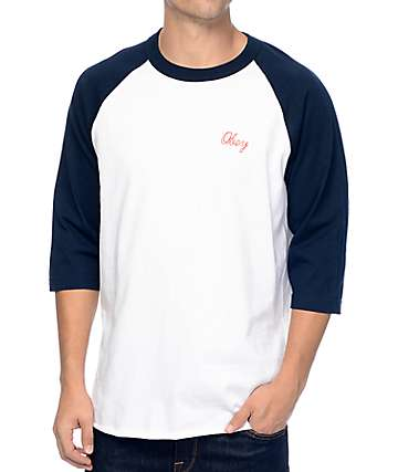 Obey Stratford White & Navy Baseball T-Shirt