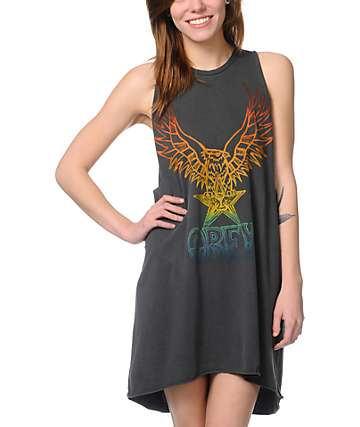 Obey Take Flight Charcoal Open Back Tank Dress